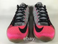 Nike Kobe 10 X Elite Low Flyknit Mambacurial Pink Grey Black Mens Size 11 Rare