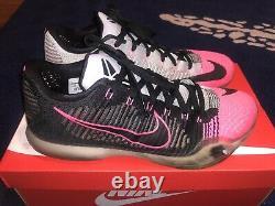 Nike Kobe 10 X Elite Low Mambacurial Sz 12, Flyknit Black/Grey/Pink