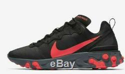 Nike React Element 55 Black Solar Red Pink Cool Grey Running Men's BQ6166-002