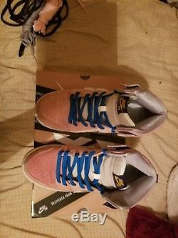 Nike SB Dunk High Concepts When Pigs Fly 8.5 with blue, grey, black, pink laces