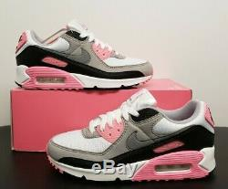 Nike Womens Air Max 90 White Grey Rose Black Cd0490-102 Size 6 New No LID