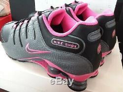 Nike Womens Shox NZ 636088 026 Black / Dark Grey Pink Sz 11 Authentic