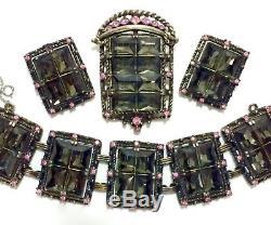 PINK GRAY BLACK SILVER GLASS VTG DESIGNER Necklace Brooch Bracelet Earrings Set