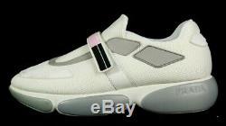 PRADA White Nylon Mesh Pink, Black, & Gray Rubber Platform Sneakers 40