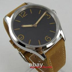 Polished 43mm sterile black dial sapphire crystal hand winding 6497 mens watch