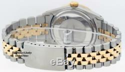 Pre-Owned Rolex Mens Datejust 16013 SS & 18K Yellow Gold Blue Diamond Dial Bezel