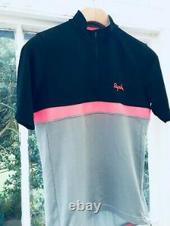 RAPHA Jersey RRP £130 Grey/Black/Pink Large Merino Strade Bianche Cycling