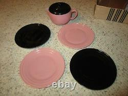 Rare Hazel Atlas Child's Pink/Black/Gray Little Hostess Tea Set WithOriginal Box