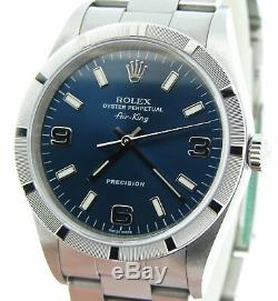 Rolex Air King Mens Stainless Steel Watch Oyster Band Blue Arabic Dial 14010M
