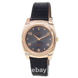 Rolex Cellini Cestello 18k Rose Gold Black Leather Manual Grey Men's Watch 5330