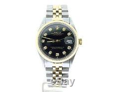 Rolex Datejust 1601 Mens Yellow Gold Stainless Steel Watch Black Diamond Dial