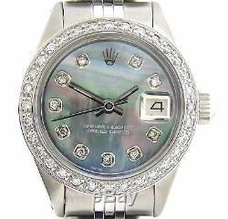 Rolex Datejust Ladies Stainless Steel Watch Tahitian Mother of Pearl MOP Diamond