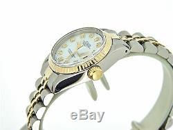 Rolex Datejust Lady 2Tone 14K Gold Stainless Steel Watch White MOP Diamond 6917