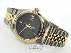 Rolex Datejust Mens 2Tone Gold & Stainless Steel Jubilee with Black Dial 1601