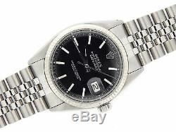 Rolex Datejust Mens Stainless Steel 18K White Gold with Jubilee Band & Black Dial