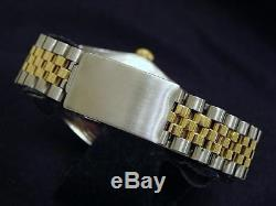 Rolex Datejust Mens Stainless Steel 18K Yellow Gold with Silver Diamond Dial 16013