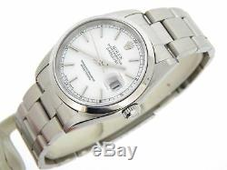 Rolex Datejust Mens Stainless Steel Oyster Watch White Dial Domed Bezel 16200