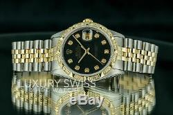 Rolex Watch Men's Datejust 16013 Two-Tone 36mm Black Dial Diamond Bezel