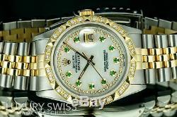 Rolex Watch Mens Datejust 16013 36mm MOP Diamond Emerald Dial Gold Pyramid Bezel