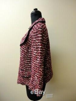 ST. JOHN COUTURE Pink Gray Black Wool Blend Tweed Blazer Jacket Size 14 HH4940