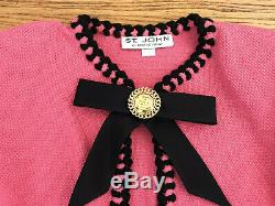 ST JOHN by Marie Gray pink knit black trim bow brooch crop jacket sz 8