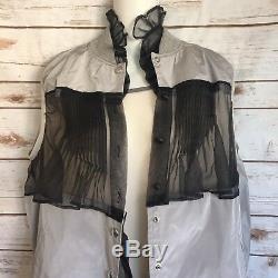 Sacai 1971 Dress Sz 1 Sleeveles Layered Ruffle Snap Button Vest Pink Gray Black
