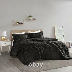 Soft Black Grey Ivory Blush Pink Faux Fur 3 pcs Cal King Queen Comforter Set