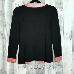 St. John Evening Marie Gray 2 Santana Knit Jacket Crystal Pailette Black Pink