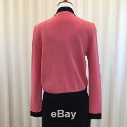 St. John by Marie Gray Suit Santana Knit Pink Black Dress Jacket Vintage Size 2