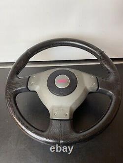 Subaru STI 3 Spoke Leather Steering Wheel with STS Airbag Grey Black & Pink