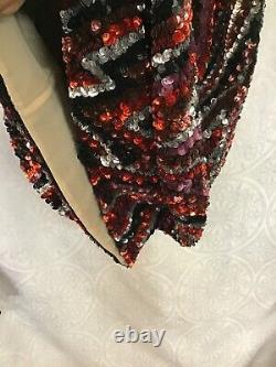 Tom Ford Sequin A Line Dress Black Red Gray Pink And Silver Sleeveless Size 40