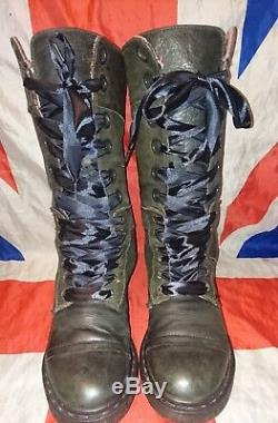 Triumph 1914Black Grey Mirage Leather Pink Tartan Check Lined Dr Doc Martens5