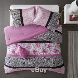 Ultra Soft Pink Grey Black Leopard Animal Ruffled Flower Girls Comforter Set