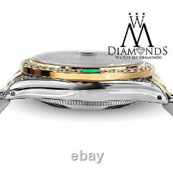 Unisex Rolex 36mm Datejust Black MOP String Emerald Diamond Dial 2 Tone Watch