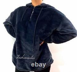 VICTORIAS SECRET PINK Faux Fur Campus Hoodie Cozy Jacket Zip Dark gray Black