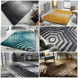 Verge Thick Heavy Pile Soft Handcarved Shaggy 3d Ochre Pink Black Grey Blue Rug