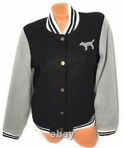 Victoria Secret Love Pink Varsity Jacket PINK 86 Embroidery Black & Gray Size M
