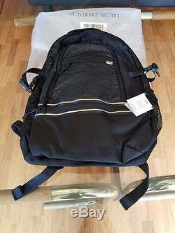 Victoria Secret PINK Black Gray Collegiate Backpack 17'' Laptop Pocket Multi New
