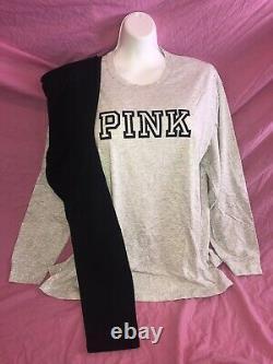 Victoria Secret PINK Oversized NEW Campus Tee L XL Gray Black Leggings Set