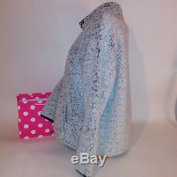 Victoria Secret PINK Sherpa Sweater XL Gray Black Fuzzy Warm 1/4 Zip Pocket New