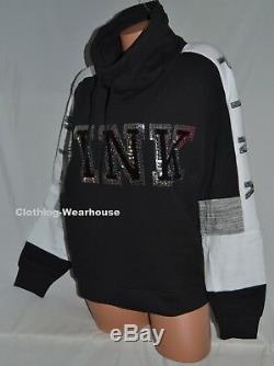 Victoria's Secret PINK Bling Cowl Neck Pullover Sweatshirt Black White Grey L