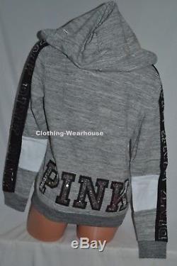 Victoria's Secret PINK Bling Logo Grey Black White Full Zip Hoodie Sweatshirt M