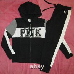 Victoria's Secret PINK Block Sweat Pants & Hoodie Set Black, White & Gray L NWT