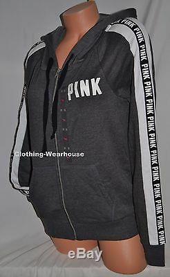 Victoria's Secret PINK Gray White Black Logo Full Zip Hoodie Sweatshirt M Medium