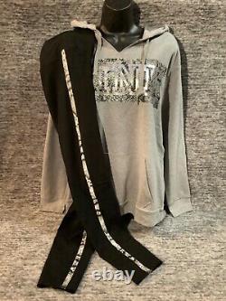 Victoria's Secret Pink Bling Campus Hoodie + Leggings Set Gray Black Snake L NWT