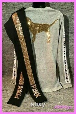 Victoria's Secret Pink Bling Campus Tee Shirt + Leggings Set Gray Black Gold M