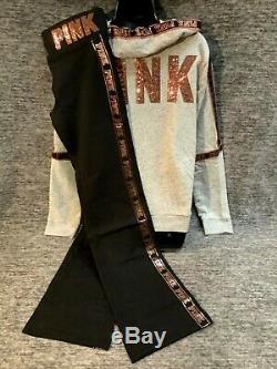 Victoria's Secret Pink Bling Full Zip Hoodie + Bootcut Leggings Rose Gold Logo L