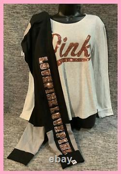 Victoria's Secret Pink Bling LS Tee Shirt + Campus Leggings Set Rose Gold Logo L