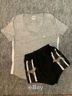 Victoria's Secret Pink Bling Perfect Tee Shirt + Shorts Set Black Gray Gold L