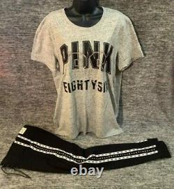 Victoria's Secret Pink Bling Rhinestone Campus Tee Shirt + Leggings Set Black L